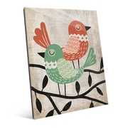 Click Wall Art 'Fancy Birds Green and Red' Graphic Art on Glass; 24'' H x 20'' W x 1'' D