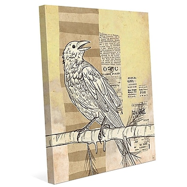 Click Wall Art 'Tabloid Bird Yellow' Graphic Art on Wrapped Canvas; 30'' H x 20'' W x 1.5'' D