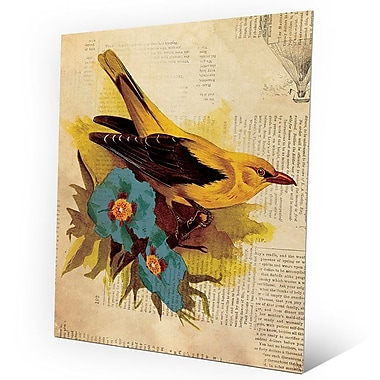 Click Wall Art 'Goldfinch w/ Blue Flowers' Graphic Art on Metal; 10'' H x 8'' W x 0.04'' D