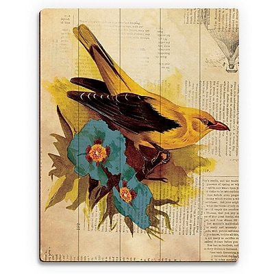 Click Wall Art 'Goldfinch w/ Blue Flowers' Graphic Art on Wood; 14'' H x 11'' W x 1'' D