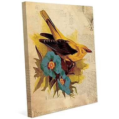 Click Wall Art 'Goldfinch w/ Blue Flowers' Graphic Art on Wrapped Canvas; 14'' H x 11'' W x 1.5'' D