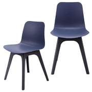 eModern Decor Hebe Series Dining Shell Side Chair (Set of 2); Navy