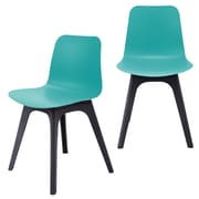 eModern Decor Hebe Series Dining Shell Side Chair (Set of 2); Turquoise