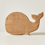Creative Co-Op Waterside Wood Whale Shaped Pedestal