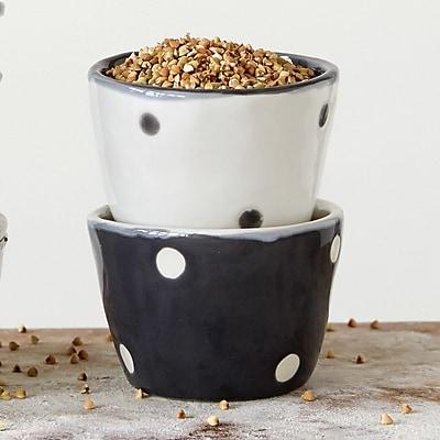 Creative Co-Op Grange Round Stoneware Dot Bowl (Set of 2)