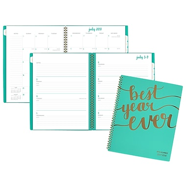 AAG – Agenda hebdomadaire/mensuel Best Year Ever de la collection Aspire, grand, 8 1/2 po x 11 po, anglais