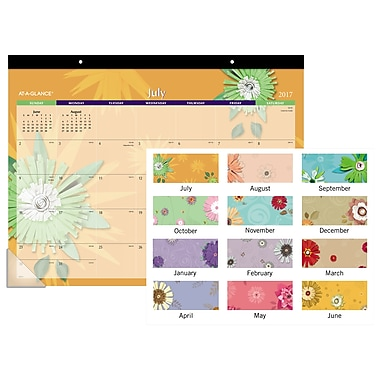 Mead® 2017/2018 Recycled Monthly Flowers Desk Pad, 22