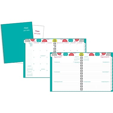 Mead® 2017/2018 Geometric Weekly/Monthly Large Academic Planner, 8-1/2