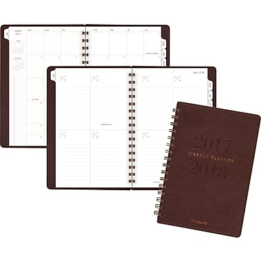 AAG Yo Pro Wirebound Weekly Planner Medium, English, Brown Leatherette Cover