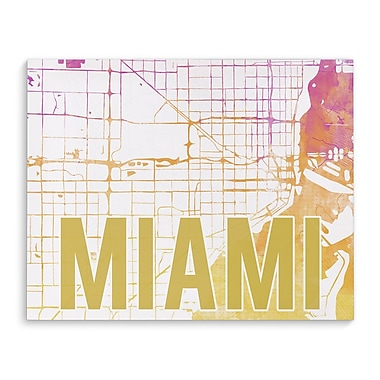 Kavka Miami Pink Sunset Front Graphic Art on Wrapped Canvas; 24'' H x 36'' W x 2'' D