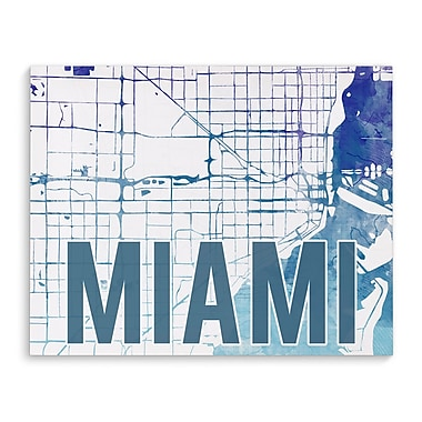 Kavka Miami Purple Sunset Front Graphic Art on Wrapped Canvas; 8'' H x 10'' W x 2'' D