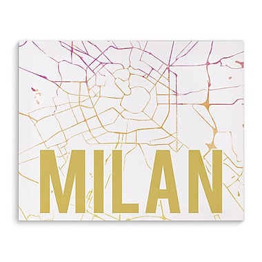 Kavka Milan Pink Sunset Front Graphic Art on Wrapped Canvas; 16'' H x 20'' W x 2'' D