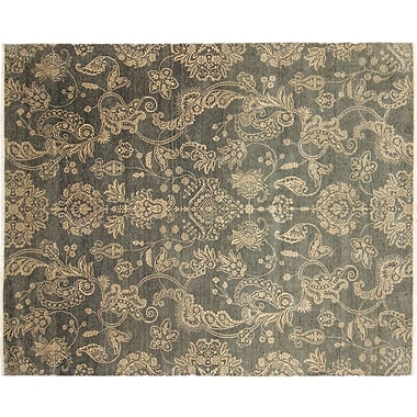 Noori Rug Indo Modern Florid Hand-Knotted Green Area Rug