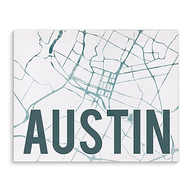 Kavka Austin Teal Front Graphic Art on Wrapped Canvas; 16'' H x 20'' W x 2'' D