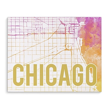 Kavka Chicago Pink Sunset Front Graphic Art on Wrapped Canvas; 8'' H x 10'' W x 2'' D