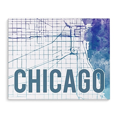 Kavka Chicago Purple Sunset Front Graphic Art on Wrapped Canvas; 24'' H x 36'' W x 2'' D