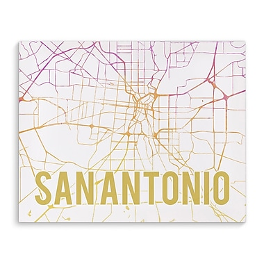 Kavka San Antonio Pink Sunset Front Graphic Art on Wrapped Canvas; 16'' H x 20'' W x 2'' D