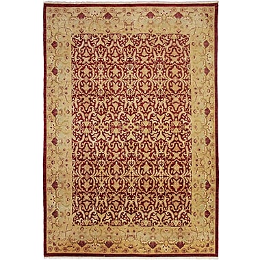 Astoria Grand Montague Hand-Knotted Rectangle Red Area Rug