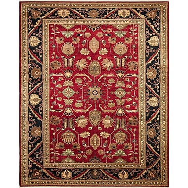 Astoria Grand Montague Hand-Knotted Red Wool Area Rug