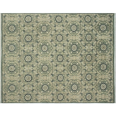 Red Barrel Studio Lauterbach Hand-Knotted Light Green Wool Area Rug