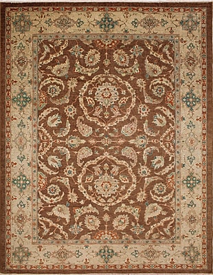 Darby Home Co Leann Hand-Knotted Oriental Rectangle Brown Indoor Area Rug