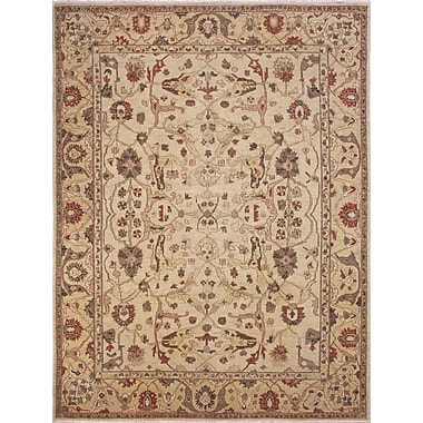 Darby Home Co Leann Hand-Knotted Oriental Ivory Premium Wool Area Rug