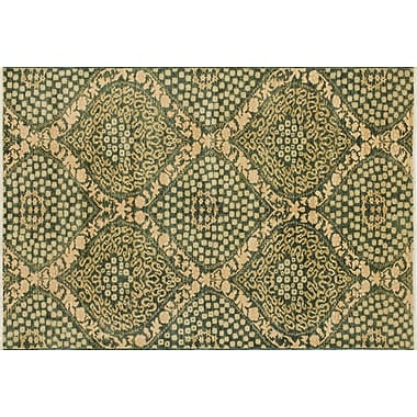 Darby Home Co Leann Hand-Knotted Oriental Green Wool Area Rug