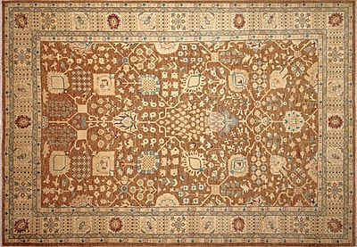 Darby Home Co Leann Hand-Knotted Chocolate Indoor Wool Area Rug