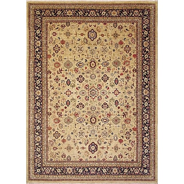 Darby Home Co Leann Hand-Knotted Gold Wool Indoor Area Rug