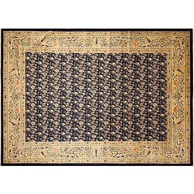 Astoria Grand Montague Hand-Knotted Blue Wool Area Rug