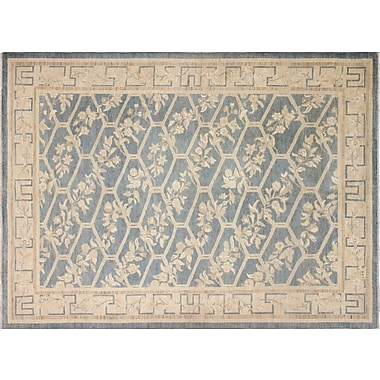 Darby Home Co Leann Hand-Knotted Light Blue/Beige Wool Area Rug