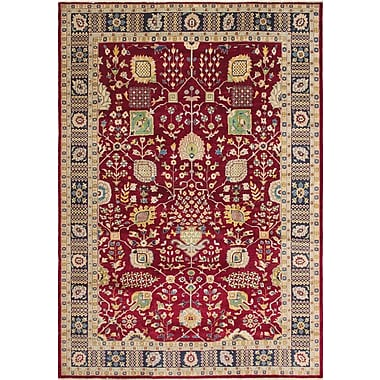 Darby Home Co Leann Hand-Knotted Rectangle Red Indoor Area Rug
