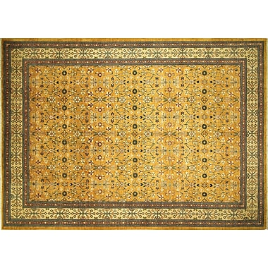 World Menagerie Aidric Hand-Knotted Gold Area Rug