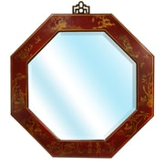 Oriental Furniture Octagonal Wall Mirror; Antique Red Lacquer