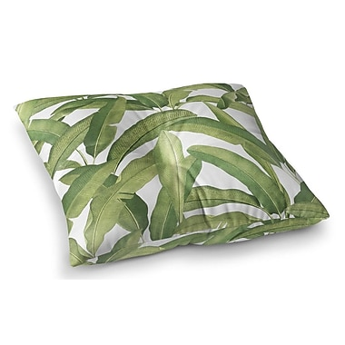 Bayou Breeze Pallavi Banana Leaves Square Floor Pillow; 23'' H x 23'' W x 9.5'' D