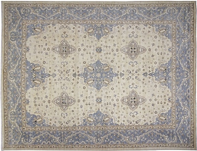 Darby Home Co Leann Hand-Knotted Ivory Premium Wool Indoor Area Rug