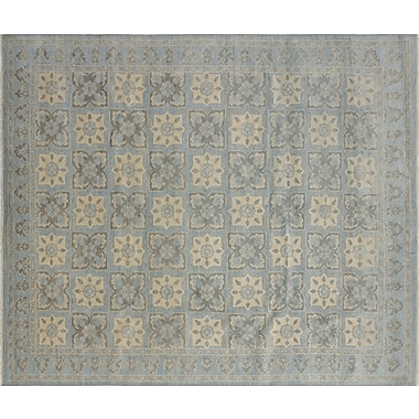 Bloomsbury Market Bellview Floral Hand-Knotted Light Blue Area Rug