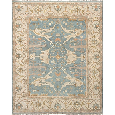 ECARPETGALLERY Royal Ushak Hand-Knotted Sky Blue Indoor Area Rug; 8' x 9'10''