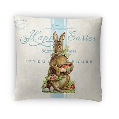 Kavka Easter Bunny w/ Easter Eggs Throw Pillow; 16'' H x 16'' W x 4'' D