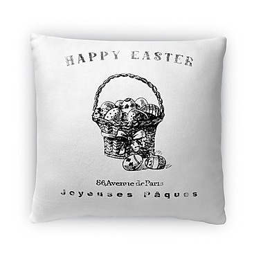 Kavka Happy Easter Basket w/ Easter Eggs Throw Pillow; 16'' H x 16'' W x 4'' D