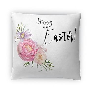 Kavka Happy Easter Floral Throw Pillow; 18'' H x 18'' W x 4'' D