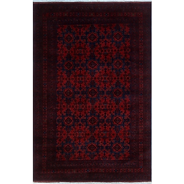 World Menagerie Alban Oriental Hand-Knotted Red Premium Wool Area Rug