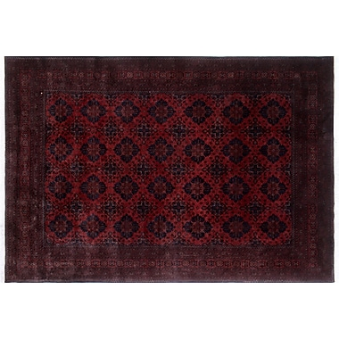 World Menagerie Alban Border Hand-Knotted Red Wool Area Rug