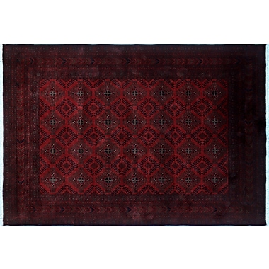 World Menagerie Alban Border Hand-Knotted Red Indoor Area Rug