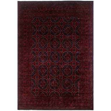 World Menagerie Alban Hand-Knotted Rectangle Red Fringe Area Rug