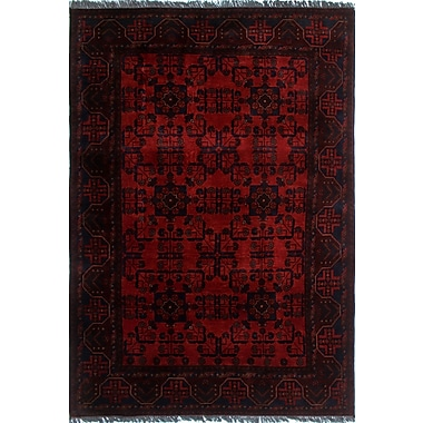 World Menagerie Alban Hand-Knotted Rectangle Red Oriental Area Rug
