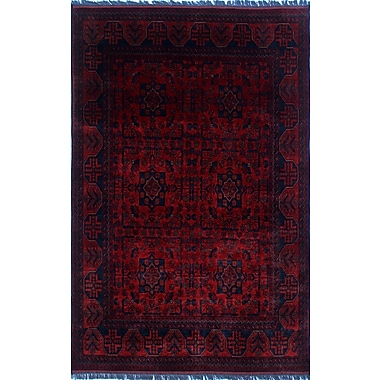 World Menagerie Alban Hand-Knotted Rectangle Red Indoor Fringe Area Rug