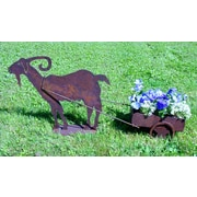ZGardenParty Goat Steel Wheelbarrow Planter