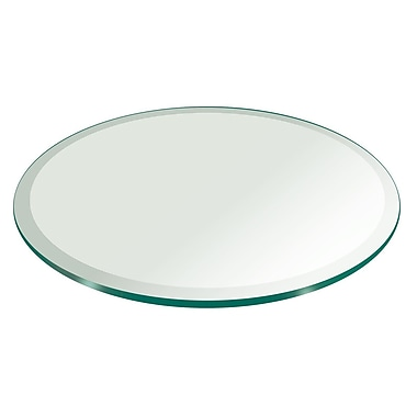 Fab Glass and Mirror 30'' Round Beveled Tempered Glass Table Top