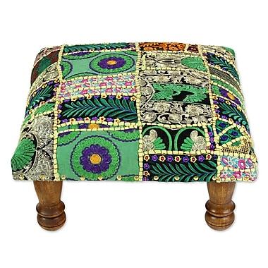 Novica Rajasthan Wishes Embellished Ottoman